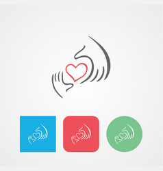 Charity icon health voluntary caring hand logo vector