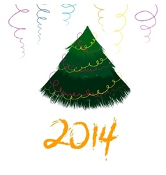 Christmas card with sketch New year tree vector image