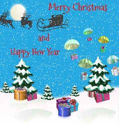 Christmas picture with Christmas trees Santa Claus vector