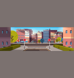 city street building houses architecture empty vector image