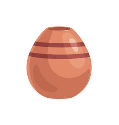 Clay vase with narrow neck brown earthen vessel vector