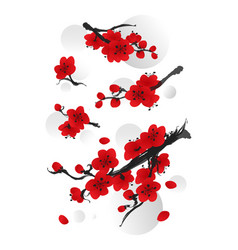 Collection plum blossom in oriental style vector