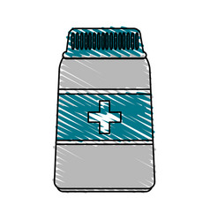 Color crayon stripe cartoon bottle with pills and vector