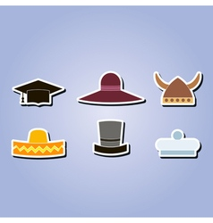 color icons with different hats vector image