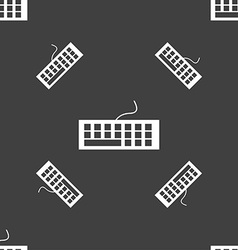 Computer keyboard Icon Seamless pattern on a gray vector image