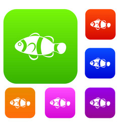 Cute clown fish set collection vector