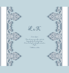 Cutout paper background with lace border pattern vector