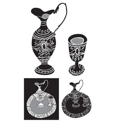 Decanter and shot glass ornament vector