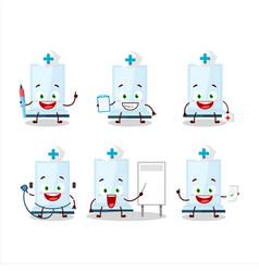 Doctor profession emoticon with aeropress cartoon vector