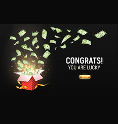 dollar paper currency explosion outbox win money vector image