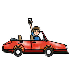 drawing people holding smartphone in car image vector image