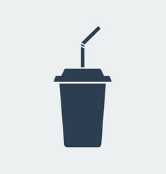 drink with a straw icontakeaway cup vector image