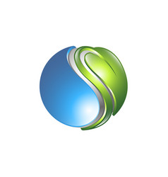 ecology logo eco world green leaf energy saving vector image