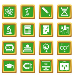 Education icons set green vector