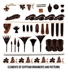 Elements of Egyptian ornaments and patterns vector