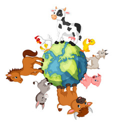 Farm animal standing around the world vector