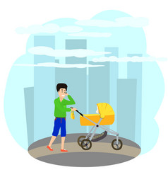 father walking with baby carriage vector image