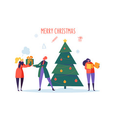 Flat happy people with gifts and christmas tree vector