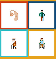 Flat icon cripple set disabled person injured vector