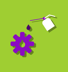 flat icon design collection gear and oil in vector image