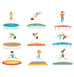 flat set of kids jumping on trampolines vector image