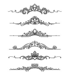 Floral design crown calligraphic elements vector