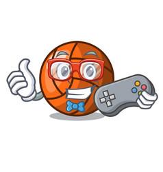 gamer volleyball mascot cartoon style vector image