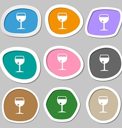glass of wine icon symbols Multicolored paper vector image