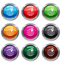 globe with pin set 9 collection vector image