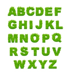 Green grass letters of alphabet vector image