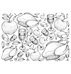 hand drawn of roasted turkey with apple and wine b vector image