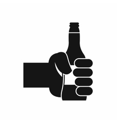 Hand holding bottle of beer icon simple style vector
