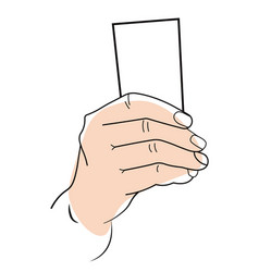 Hand holding card or paper sheet object mockup vector