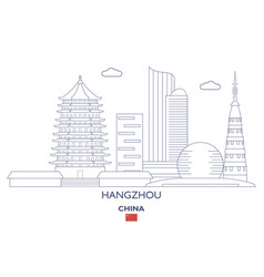 Hangzhou city skyline vector