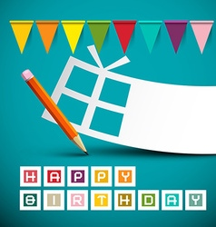 Happy Birthday Retro Blue Card with Colorful Flags vector image