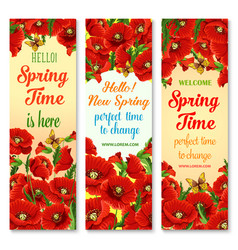 hello spring flower greeting banner set design vector image