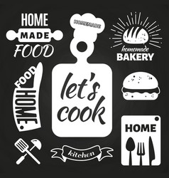 home made bakery and home cooking badges vector image