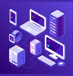 hosting data server pc laptop computer smart vector image