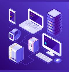 hosting data server pc laptop computer smart vector image