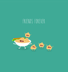 hummus celery funny friends forever vector image