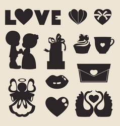 icons of love symbol for valentine day vector image
