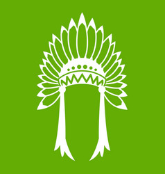 Indian headdress icon green vector