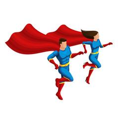 isometry set superhero girls in suits 3d chara vector image