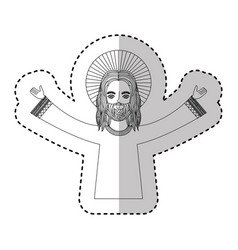 Jesuschrist with halo character religious icon vector