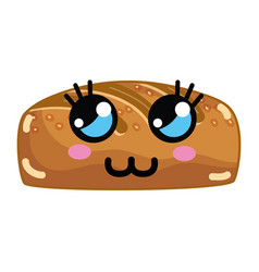 Kawaii cute thinking bakery bread vector