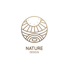 Logo nature elements - sun lake field vector