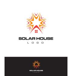 Logo solar house panel concept vector