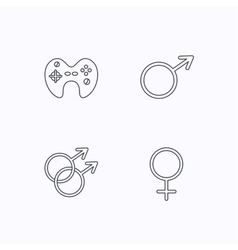 Male female and game joystick vector