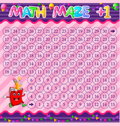Math maze addition worksheet with book and pencil vector