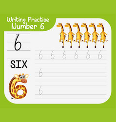 Math writing practise number six vector